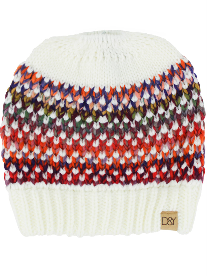 White Multicolor Knit Messy Bun Ponytail Hat
