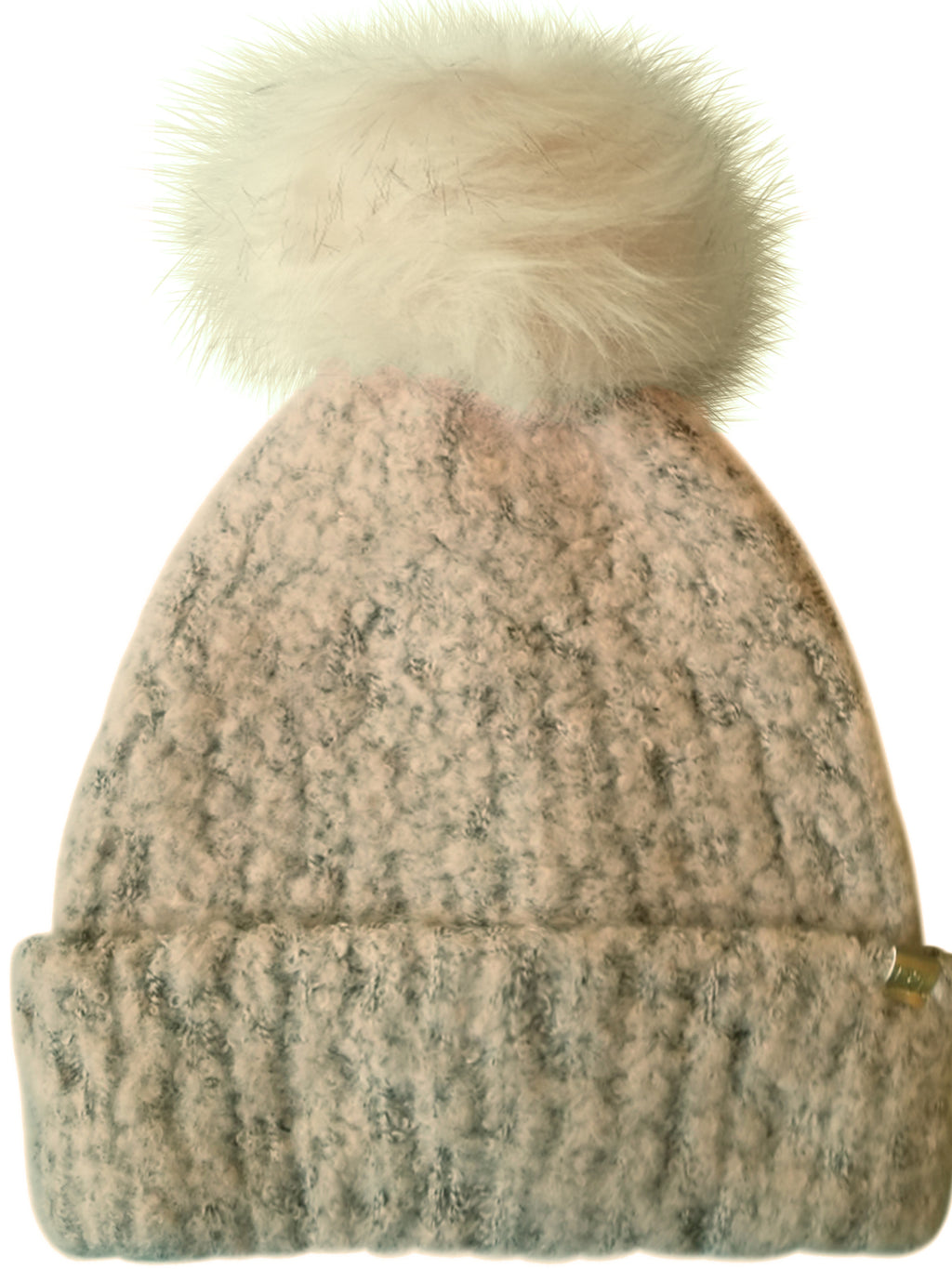Beige Knit Beanie Hat With Faux Fur Pom Pom