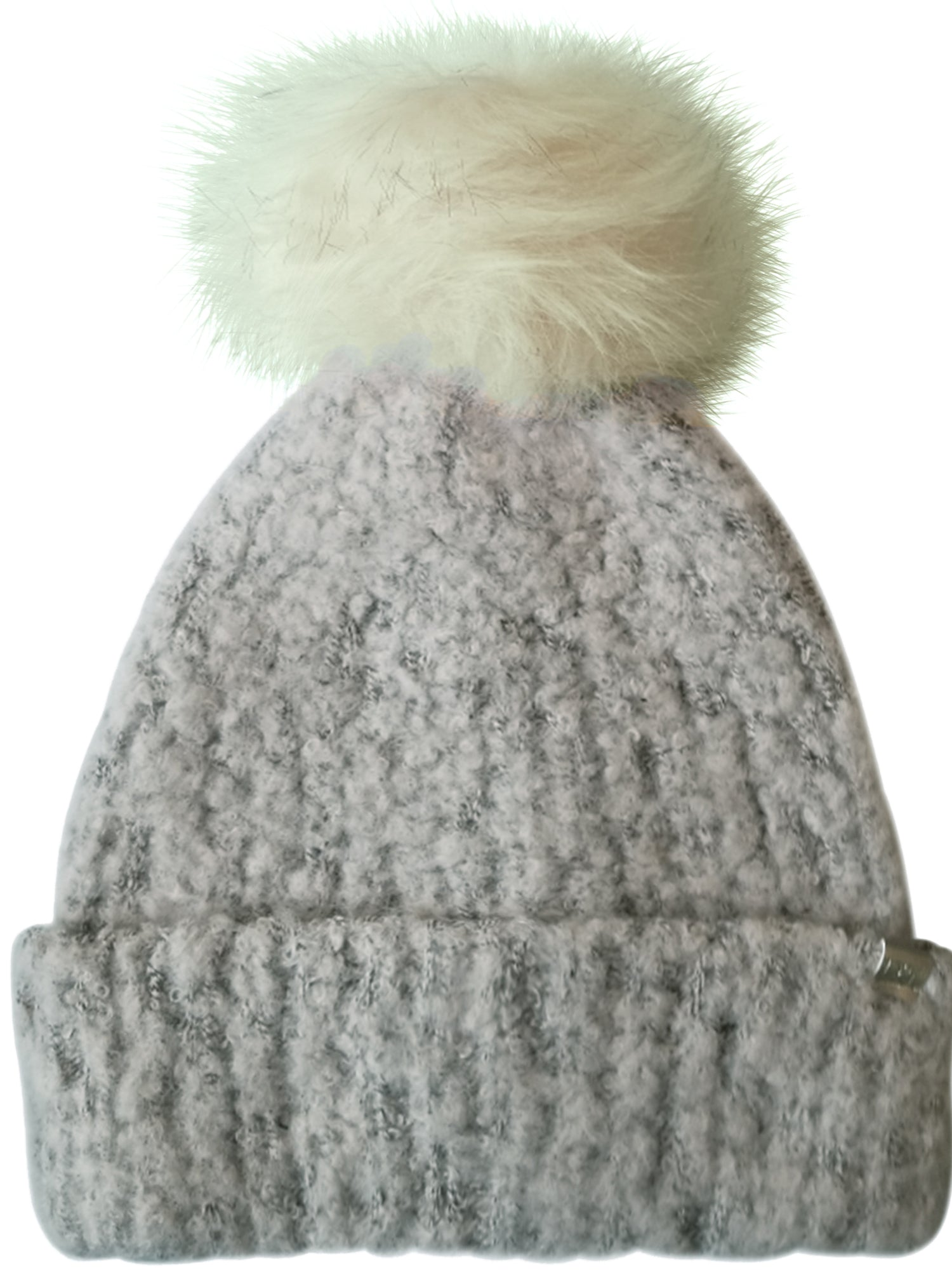 Slouchy Beanie in Pink and Gray with Faux Fur Pom Pom