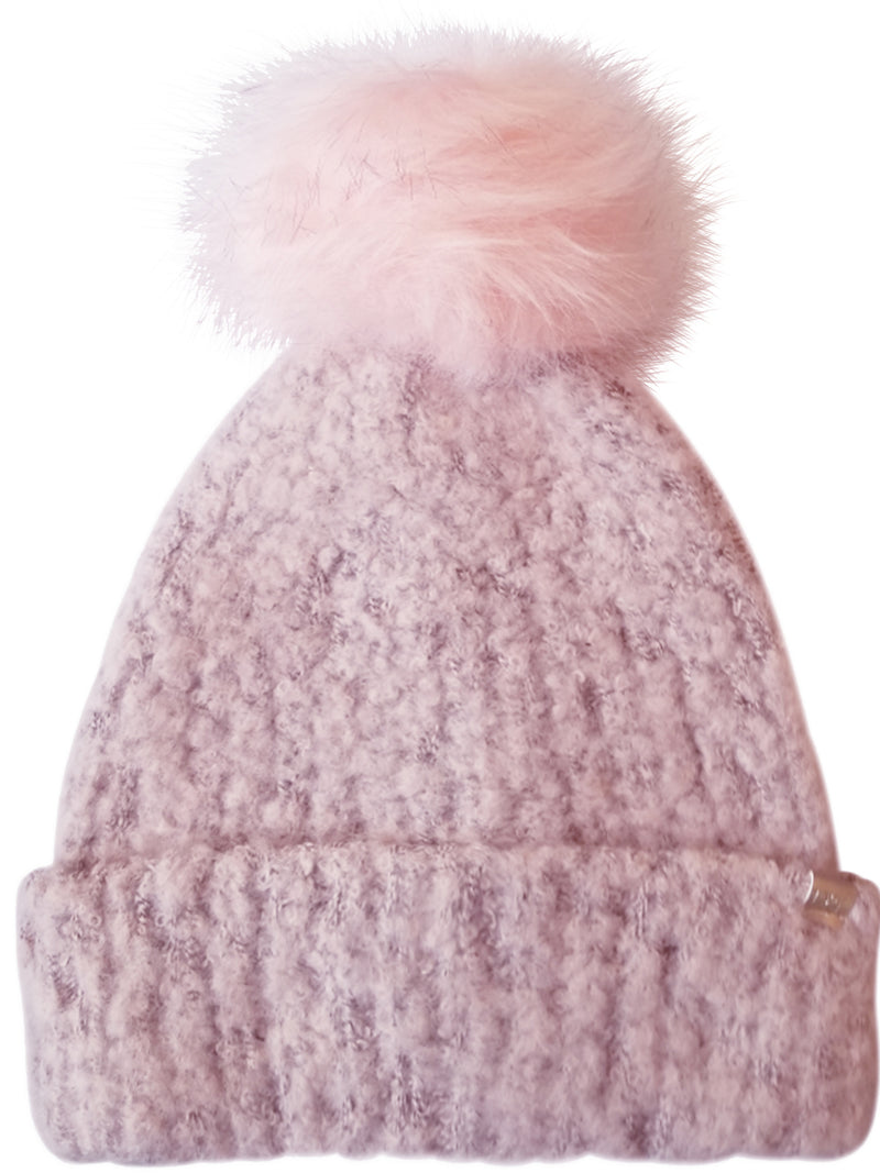 Pink Knit Beanie Hat With Faux Fur Pom Pom