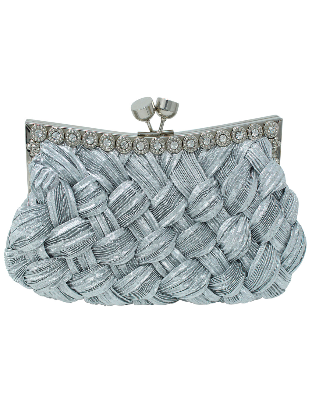 Woven Braid Clutch Purse With Rhinestone Trim