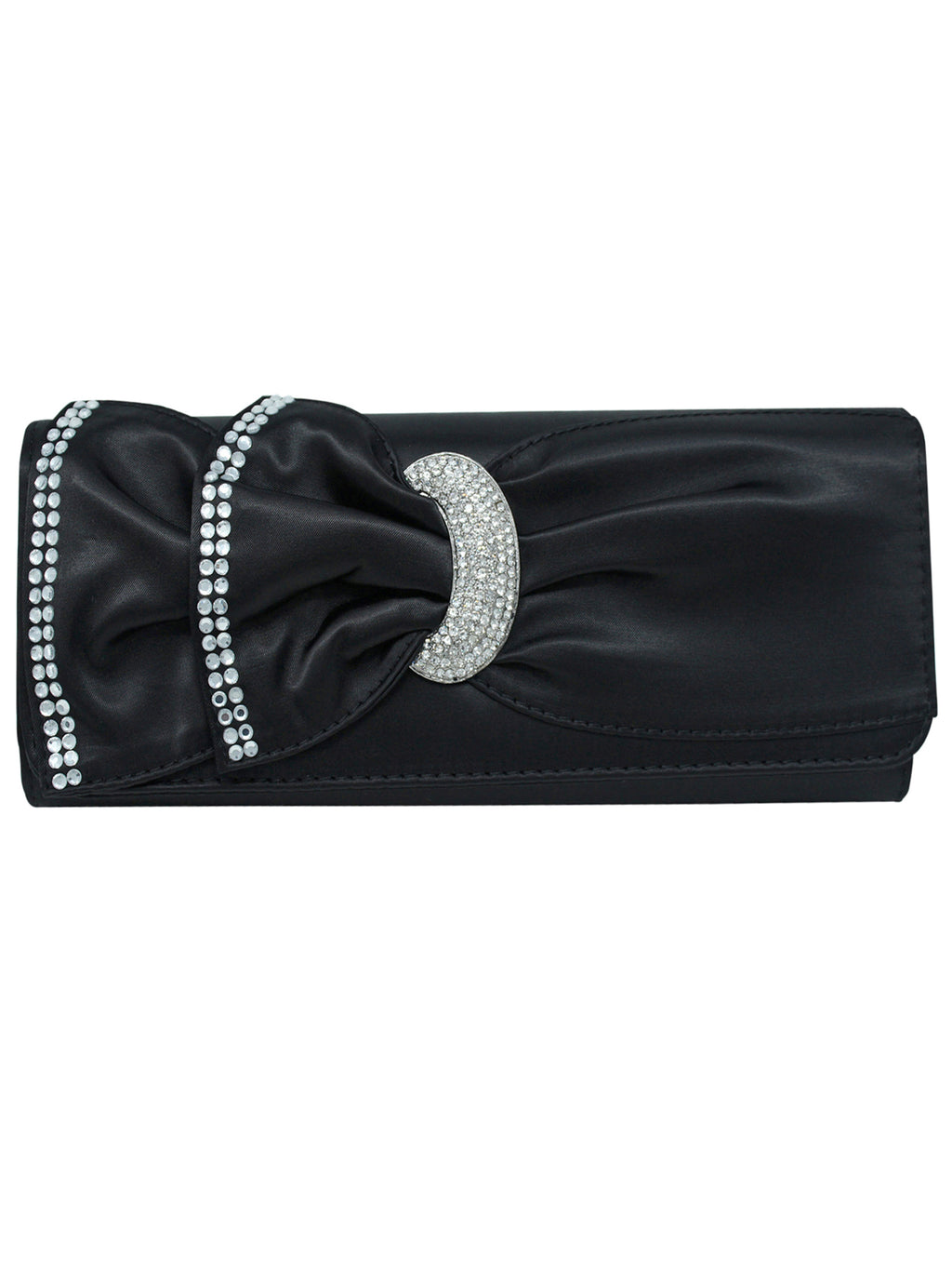 Black Satin Evening Clutch Bag With Rhinestones
