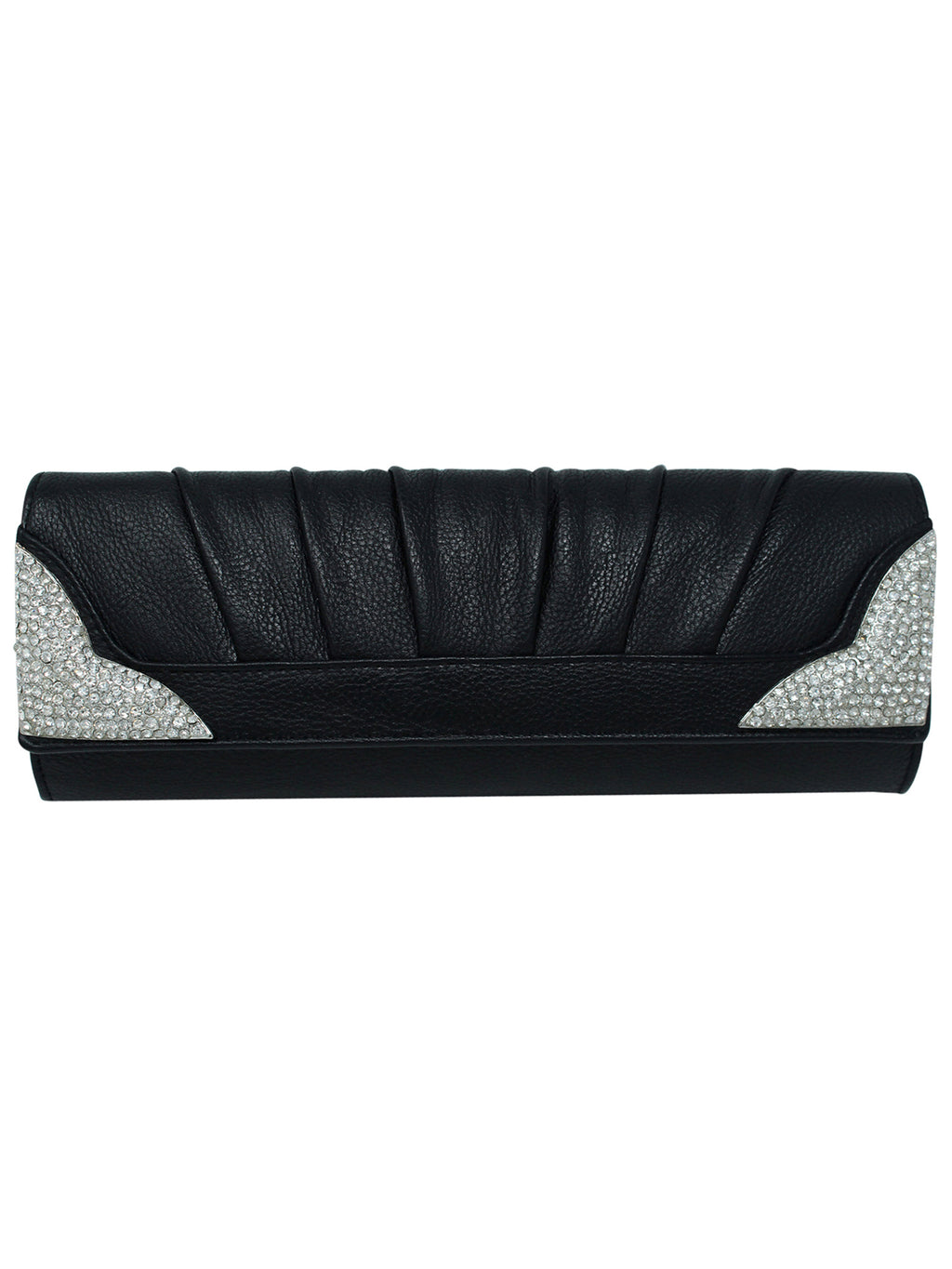 Black Long Evening Bag With Rhinestone Tips