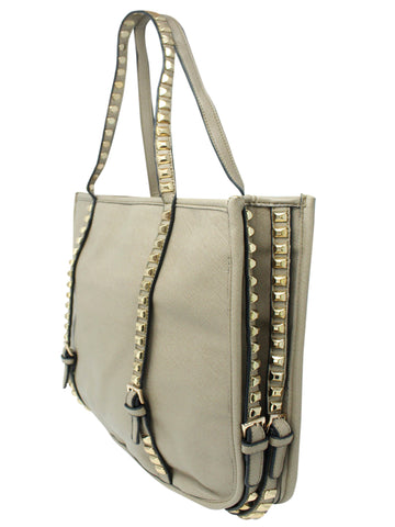 Khaki Tote Bag With Long Studded Straps