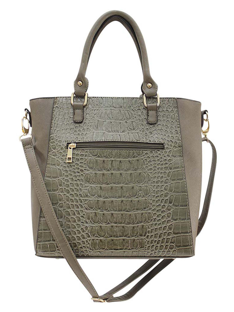 Textured Handbag Tote With Tassel Trim