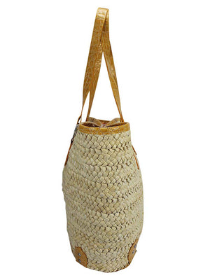 Braided Beach Tote Bag With Croc Trim