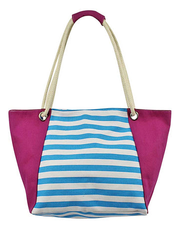 Turquoise Pink & White Striped Canvas Beach Bag Tote