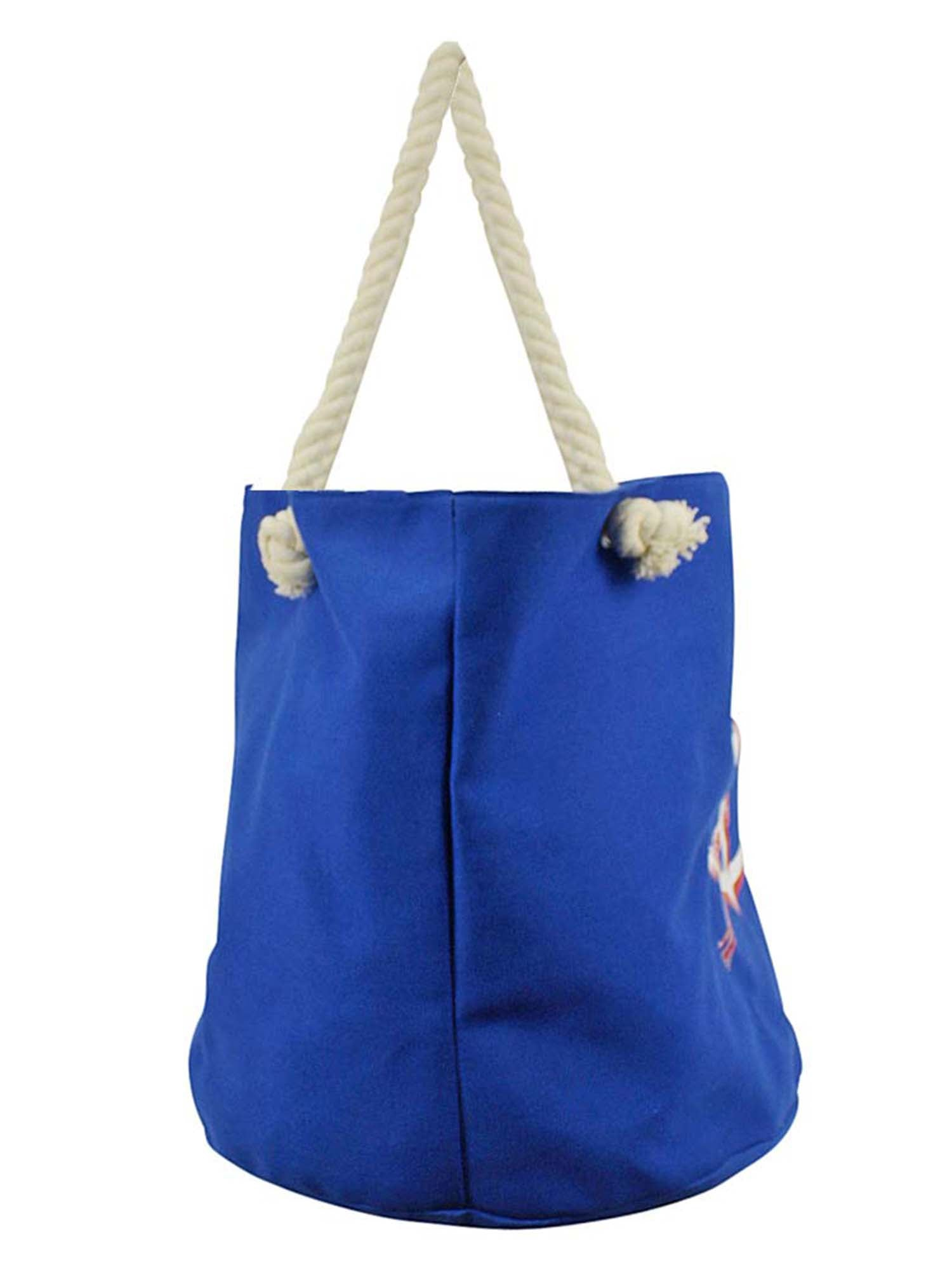 Blue Canvas Beach Bag Tote With Red & White Anchor