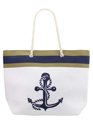 White Anchor Canvas Beach Tote Bag Carryall