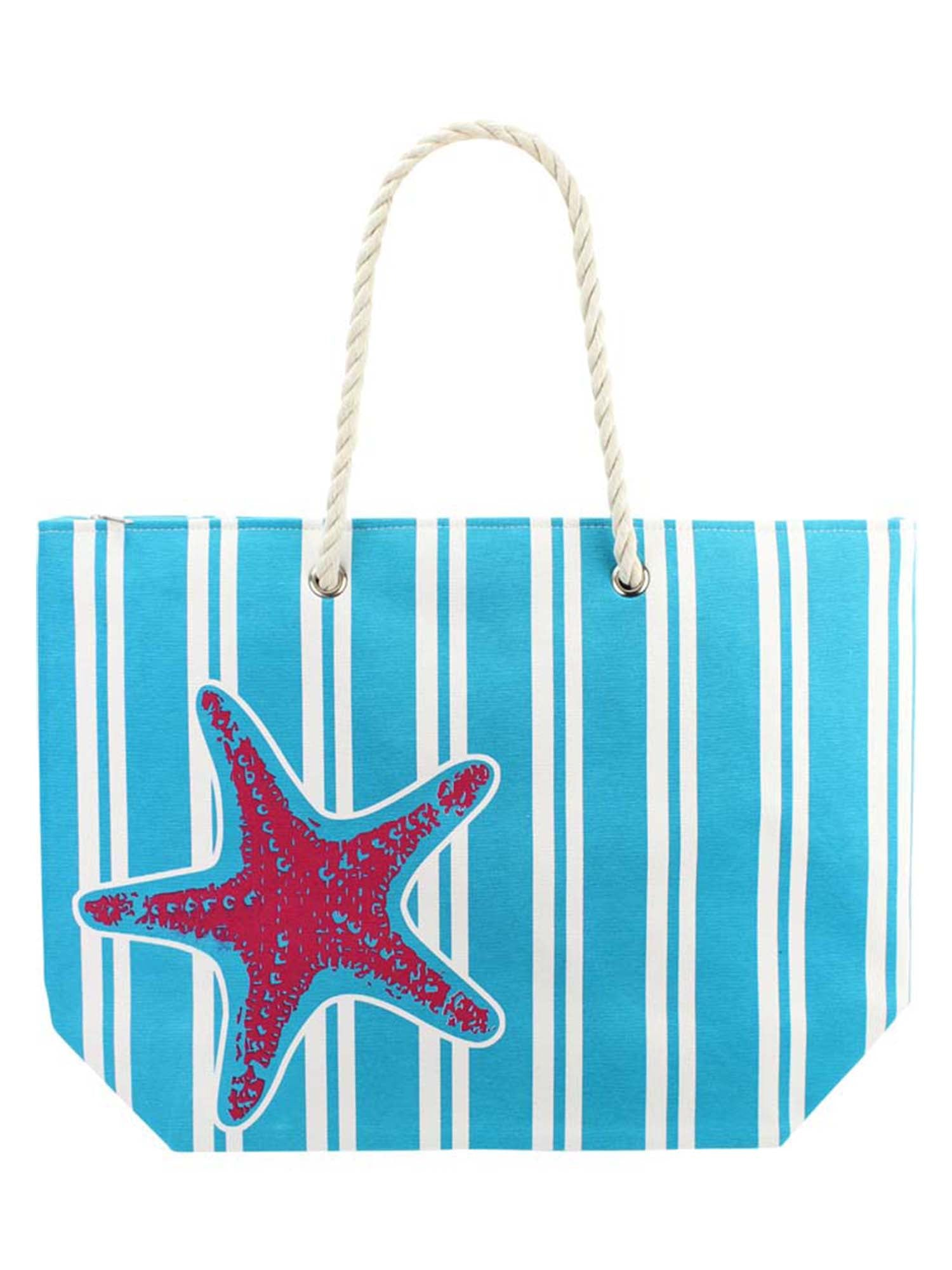 Turquoise Starfish & Stripes Canvas Beach Tote Bag
