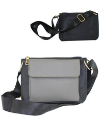 Black And Gray Front Flap Vegan Leather Waist Bag