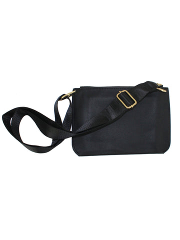 Black And Gray Front Flap Vegan Leather Cross Body Waist Bag