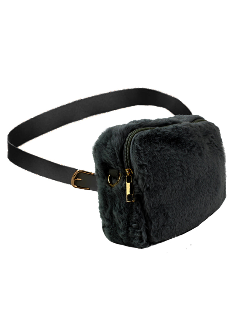 Black Faux Fur Cross Body Fanny Pack