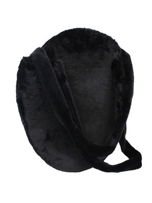 Black Round Faux Fur Tote Bag