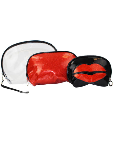 Womens Red Lips Clear 3 Piece Cosmetics Toiletries Bags