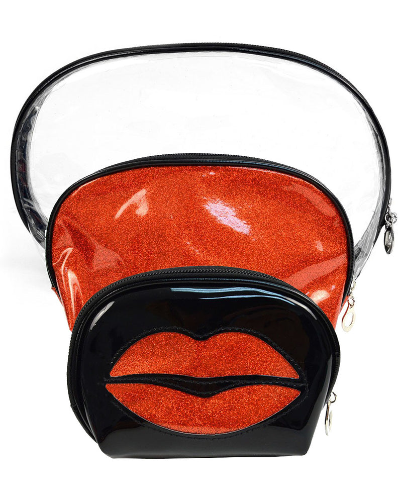 Red Lips Clear 3 Piece Cosmetics Bags