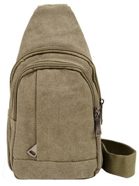 Mens Olive Cross Body Canvas Sling Bag With Strap