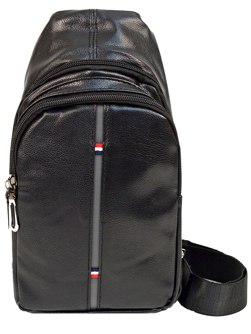 Mens Black Cross Body Faux Leather Sling Bag