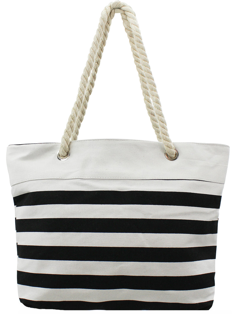 Striped Canvas Tote Beach Bag