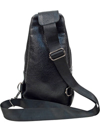 Black Embossed Vegan Leather Crossbody Sling Bag