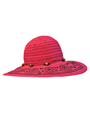 Hot Pink Floppy Hat With Elegant Trim