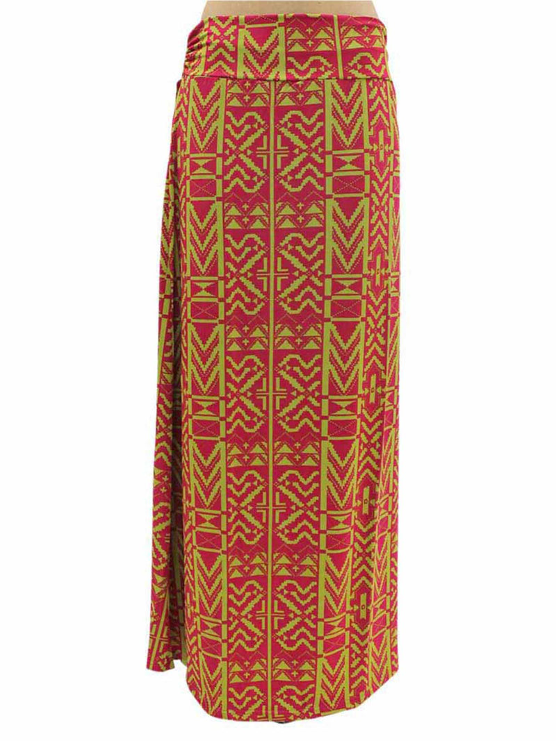 Aztec Print Fold-Over Maxi Skirt