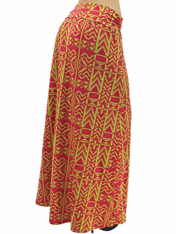 Hot Pink & Yellow Aztec Print Fold-Over Maxi Skirt Size Medium