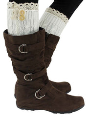 Ivory White Knit Boot Liner Leg Warmers With Lace Trim
