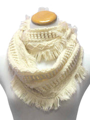 Cable Knit Infinity Loop Scarf With Fringe