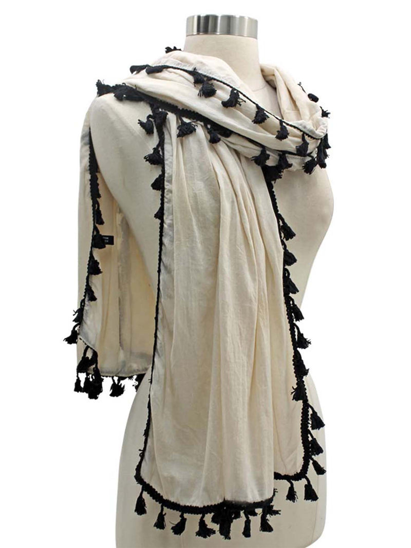 Long Neck Scarf With Contrast Tassel Trim