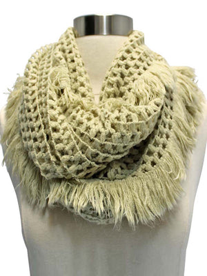 Beige Crochet Open Knit Winter Infinity Scarf