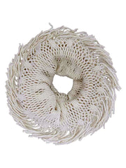 Open Knit Infinity Scarf With Fringe