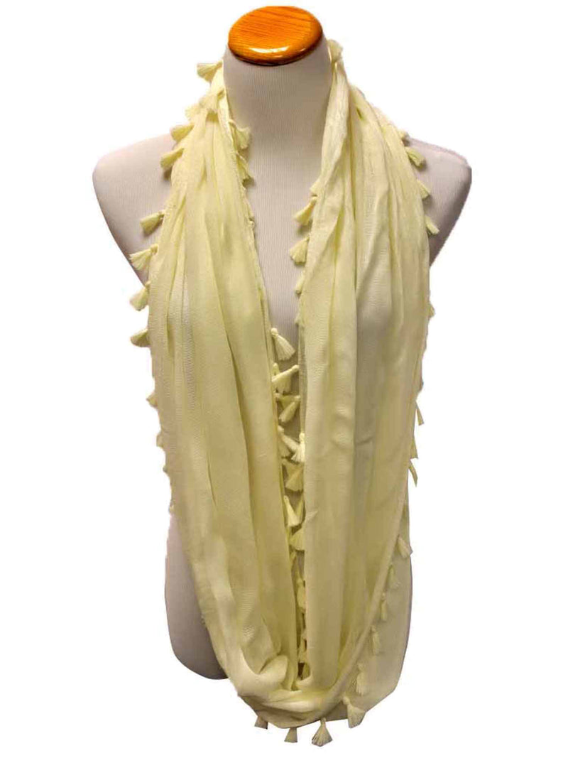 Tassel Trim Light Infinity Scarf