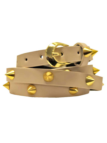 Skinny Gold Spike Studded Belt