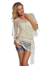Ivory Mesh Lightweight See Through Tunic Beach Cover-Up With Sash