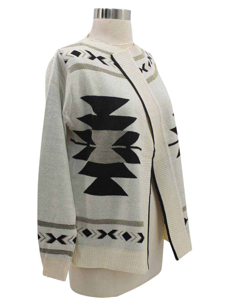 Tribal Print Cardigan Sweater