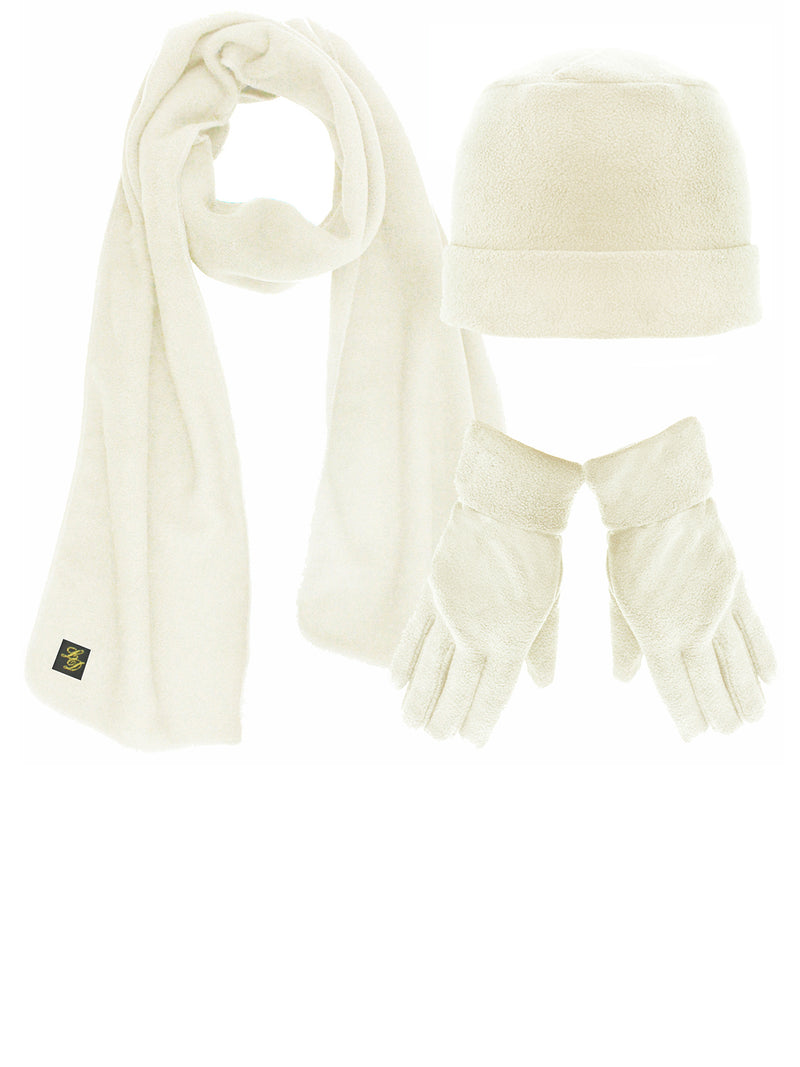 Polar Fleece 3 Piece Hat Scarf & Glove Matching Set