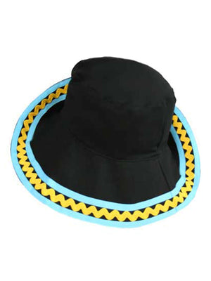 Black Bucket Hat With Blue & Yellow Trim