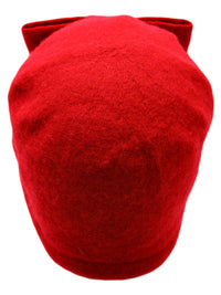 Red Simple Wool Pillbox Hat With Bow