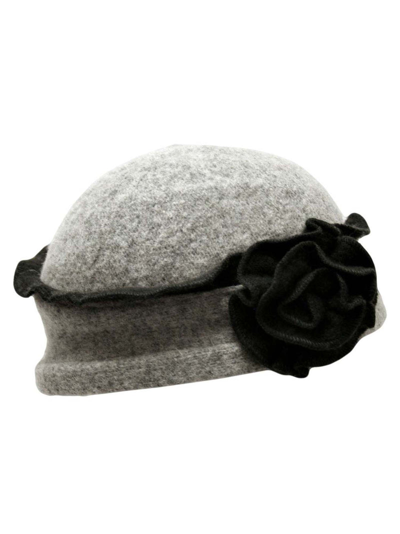 Wool Cloche Hat With Rosette