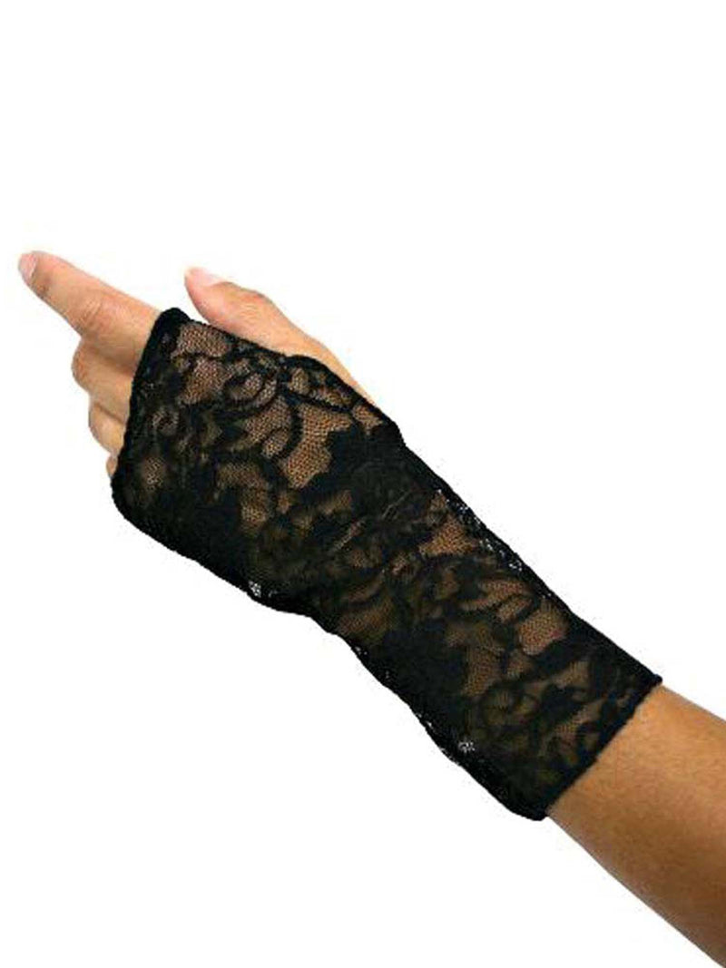 Black Glove With Lace Removable Cuff