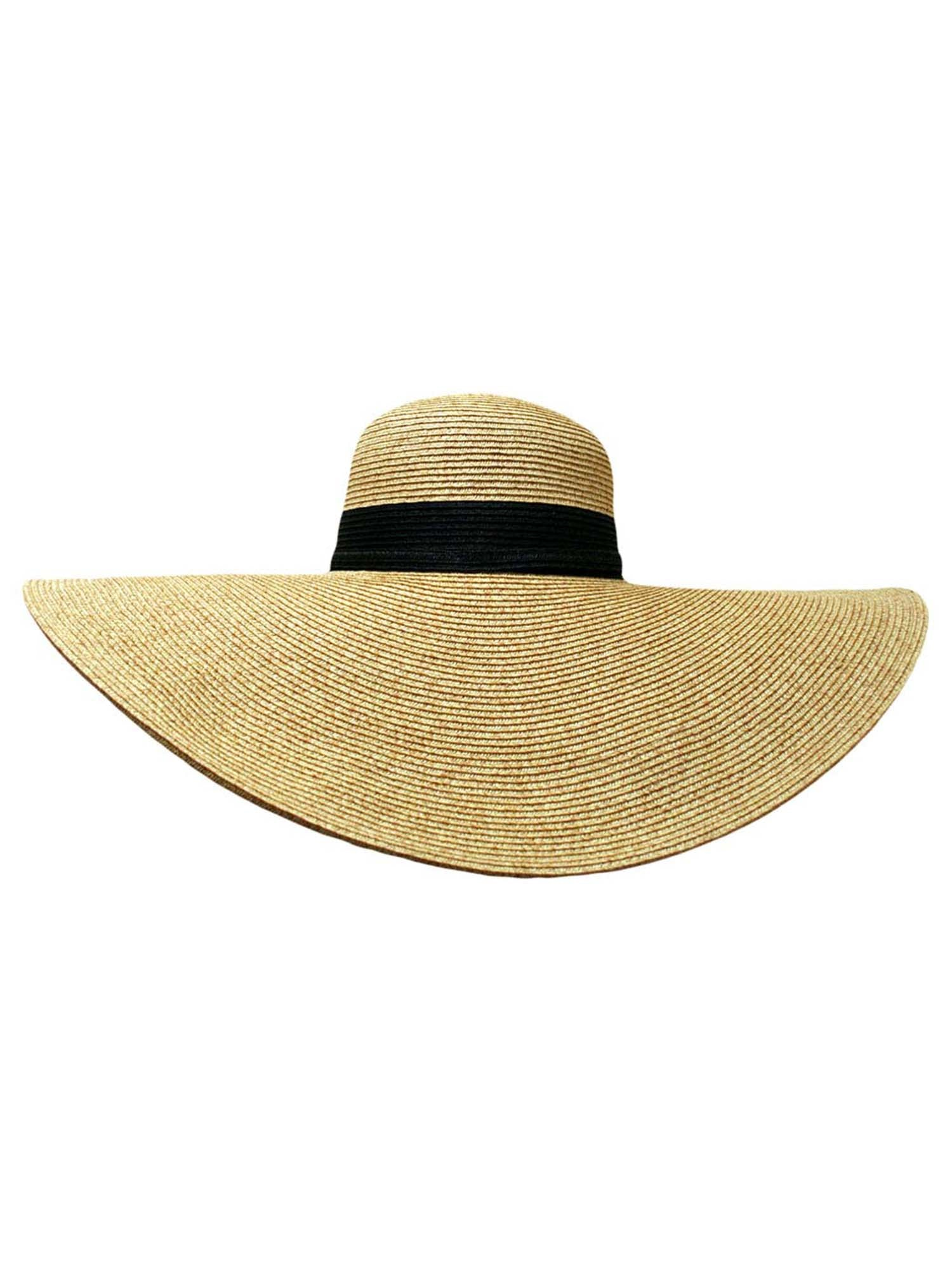 Natural Wide Brim Floppy Hat With Black Ribbon Hat Band