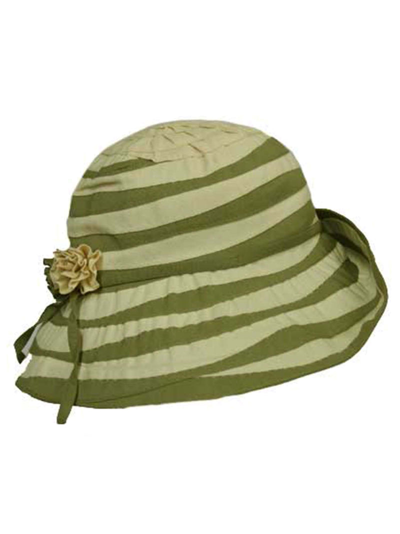 Green & Cream Wide Brim Bucket Hat