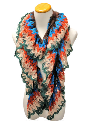Blue Orange Green Ruffled Multicolor Scarf