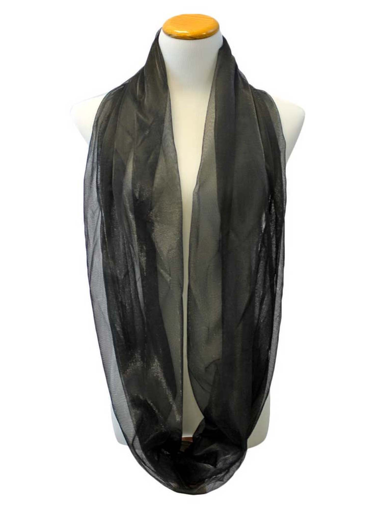Black Shimmery Sheer Ring Scarf