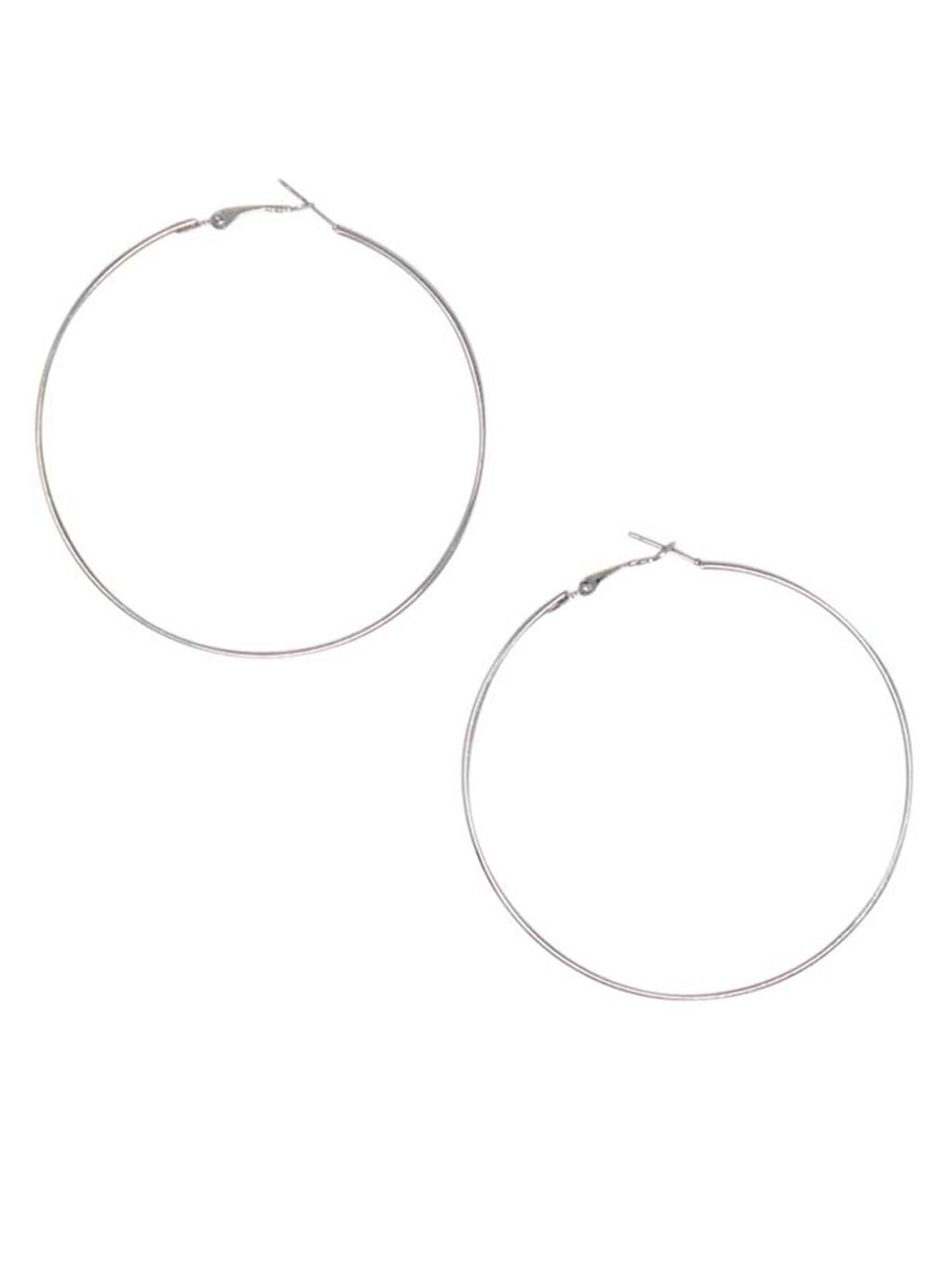 Oversized Classic Silver Metal Hoop Earrings