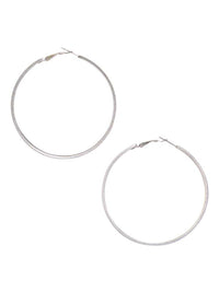 Classic Silver Hoop Earrings With Ribbed Detail