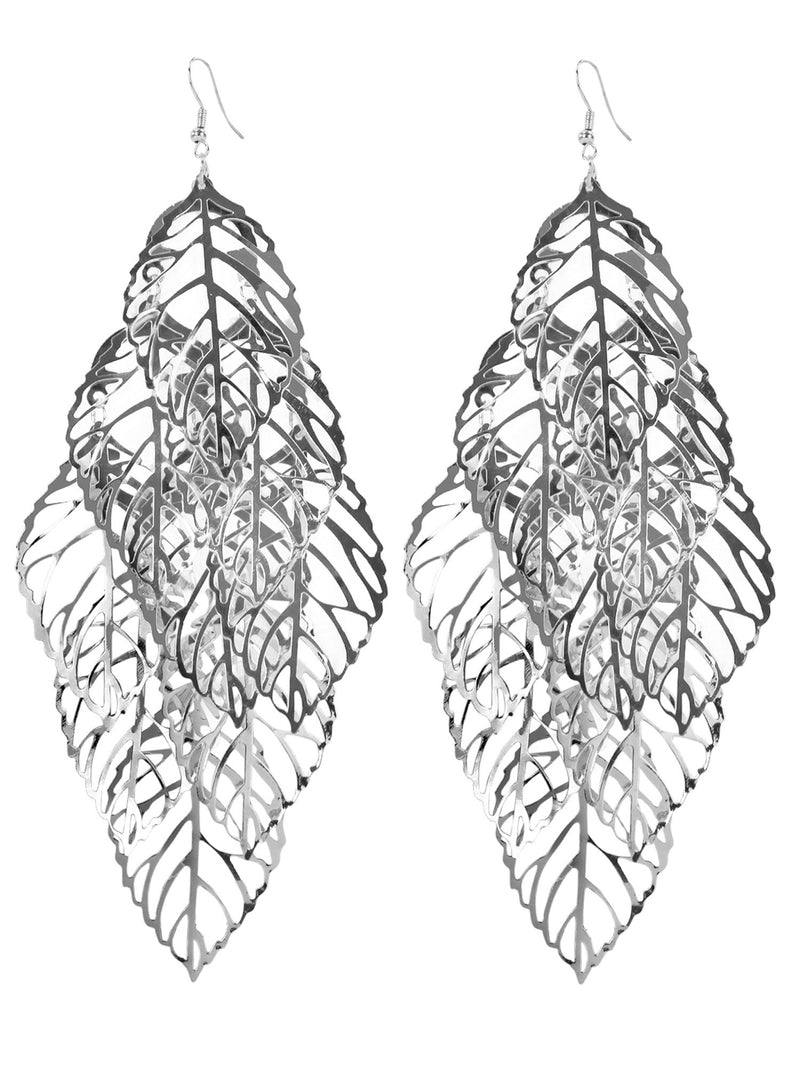 Big Filigree Leaf Leaves Earrings