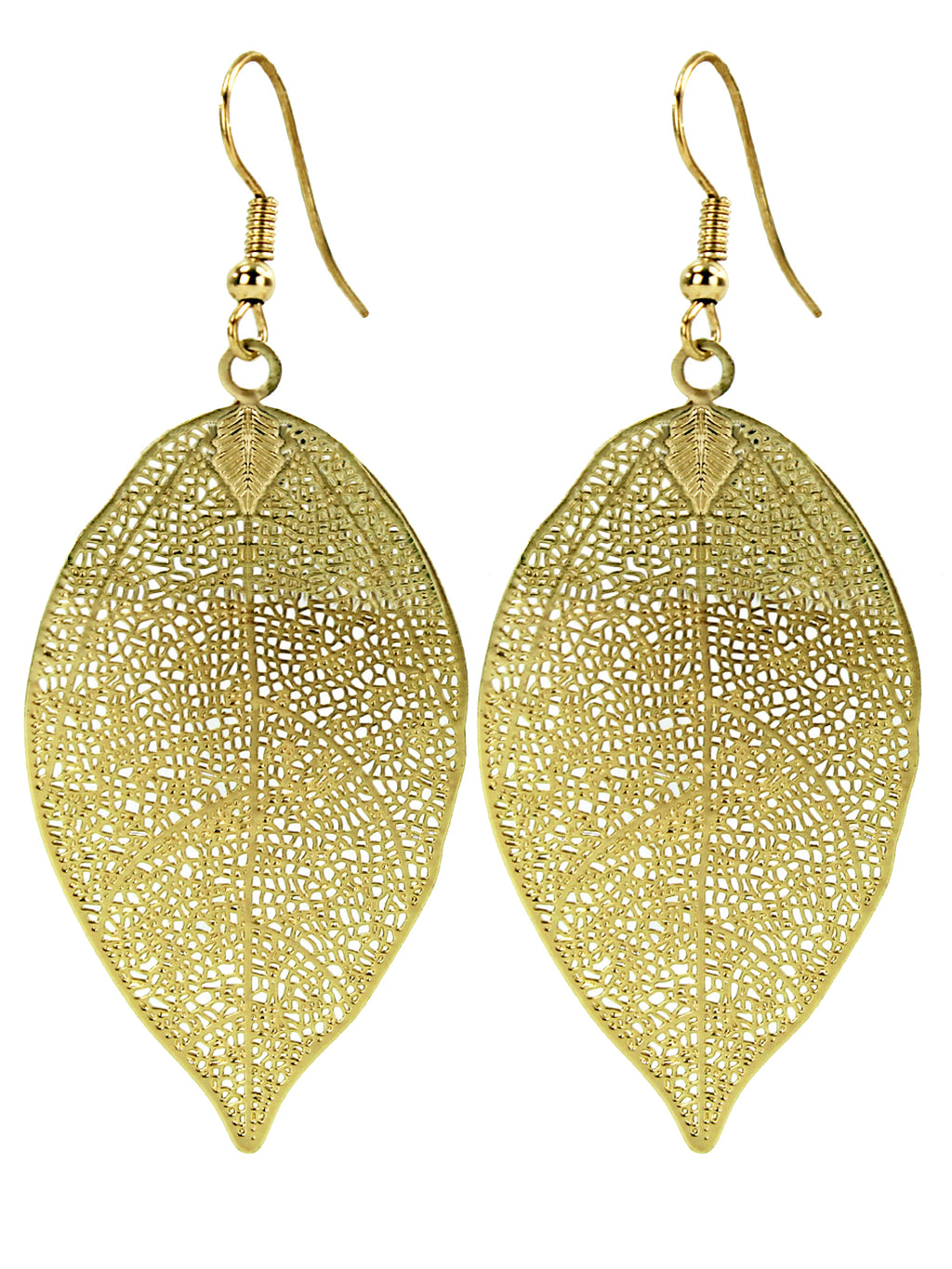 Laser Cut Filigree Leaf Earrings