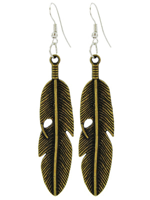 Antiqued Metal Feather Earrings